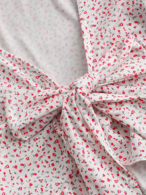 ZAFUL Ditsy花フリルリブ付き結び目Tシャツ - ライトピンク XL Mobile