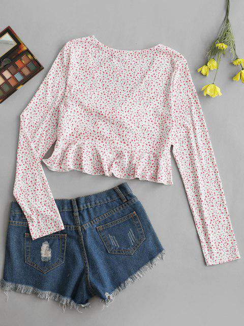 best ZAFUL Ditsy Floral Ruffle Ribbed Knot Tee - LIGHT PINK M Mobile