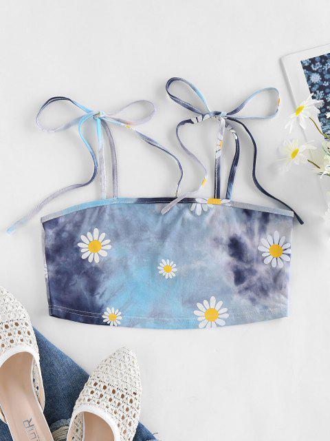 ZAFUL Daisy Print Tie Dye Crop Cami Top - أزرق فاتح S Mobile