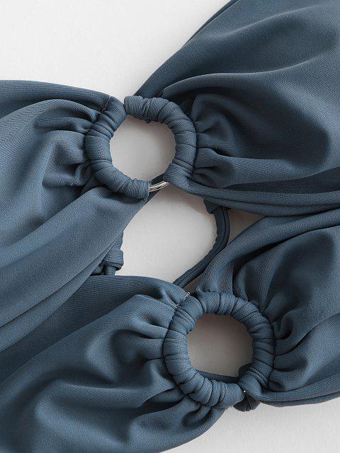 ZAFUL Maillot de Bain Bikini Bandeau Fleuriau Dos - Bleu profond L Mobile