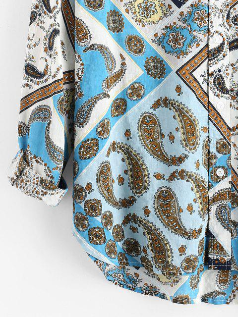 shops Paisley Scarf Print Button Up Pocket Shirt - BLUE 3XL Mobile