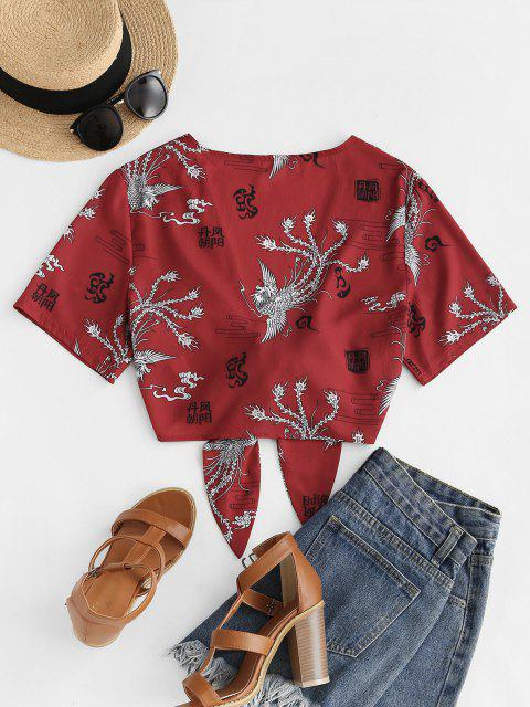 womens Tie Front Phoenix Print Oriental Crop Blouse - RED S Mobile