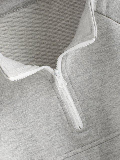 trendy Zip Drawstring Hem Raglan Sleeve Cropped Sweatshirt - GRAY XL Mobile