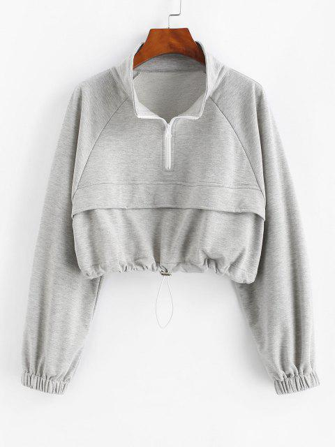 Zip Drawstring Hem Raglan Sleeve Cropped Sweatshirt - اللون الرمادي XL Mobile