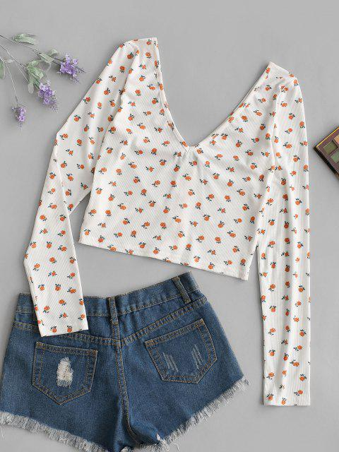 chic ZAFUL Ditsy Floral Plunge Backless Mock Button Tee - LIGHT ORANGE S Mobile