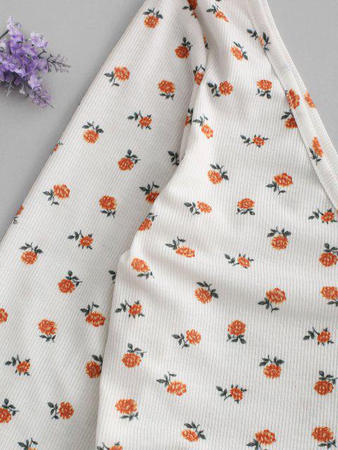 ZAFUL Ditsy Blumen Tiefes Rückenfrei Falschen Knöpfe T-Shirt - Hell orange M Mobile