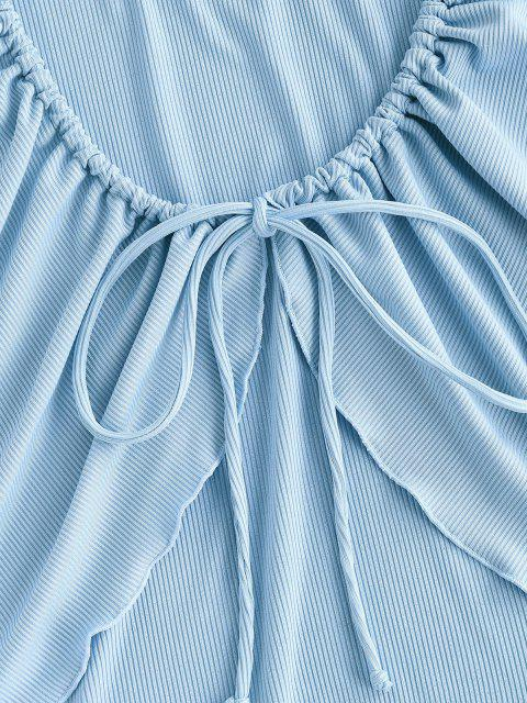 outfits ZAFUL Tie Front Lettuce Trim Ribbed Swim Top - LIGHT BLUE S Mobile