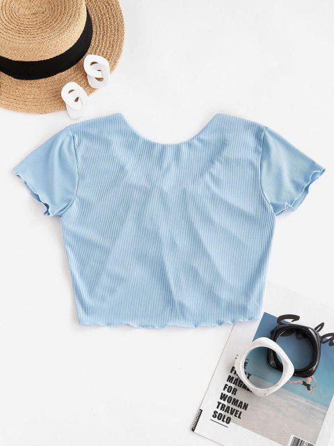 shop ZAFUL Tie Front Lettuce Trim Ribbed Swim Top - LIGHT BLUE M Mobile