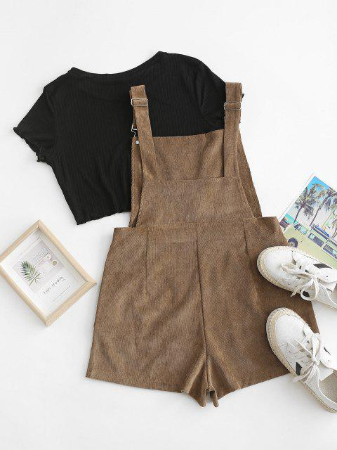 fancy Pockets Corduroy Pinafore Romper with Top - COFFEE XL Mobile