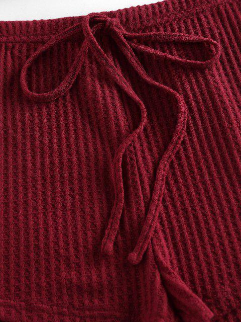 ZAFUL Lounge Strukturiertes Cami Bowknot Shorts Set - Roter Wein S Mobile