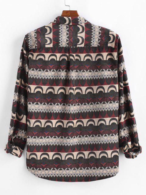 Tribal Print Button Up Pocket Corduroy Shirt - أحمر عميق 3XL Mobile