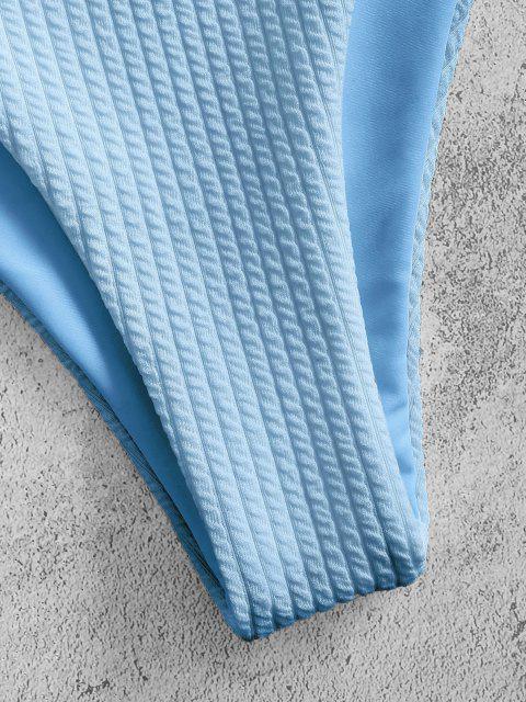 shop ZAFUL Textured Knot Ruffle High Leg Bikini Swimwear - LIGHT BLUE S Mobile