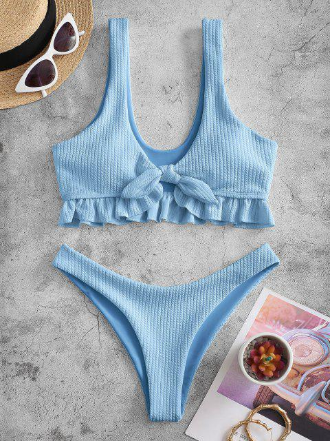 ZAFUL Bikini Badebekleidung mit Strukturiertem Knoten und Hohem Bein - Hellblau S Mobile