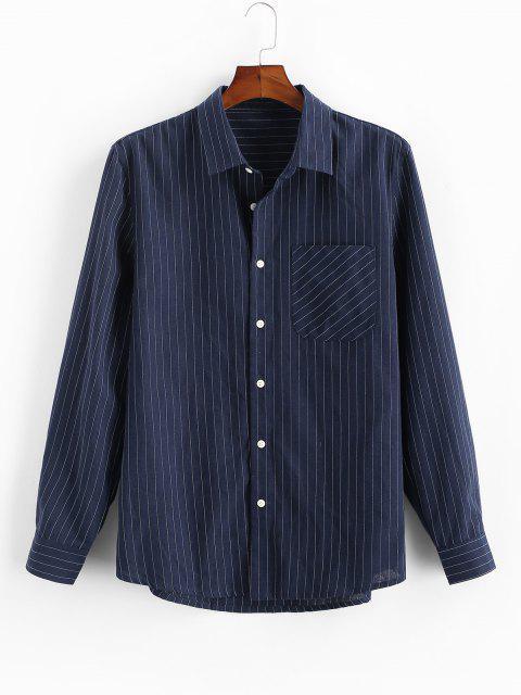 ピンストライプ印刷ボタン付きポケットシャツ - 藍色 M Mobile