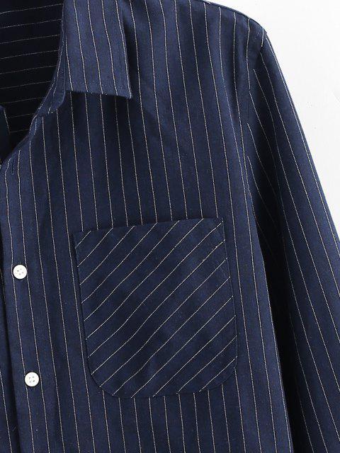 online Pinstripe Print Button Up Pocket Shirt - DEEP BLUE M Mobile
