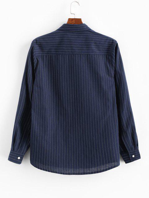 buy Pinstripe Print Button Up Pocket Shirt - DEEP BLUE L Mobile