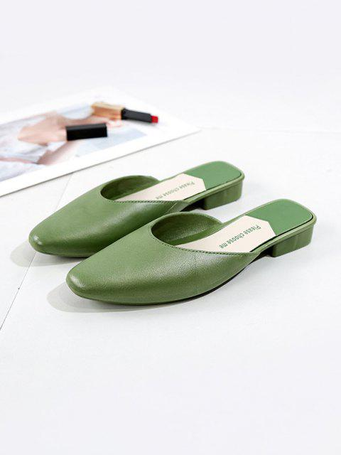 online Square Collar Leather Flat Half Shoes - GREEN EU 38 Mobile
