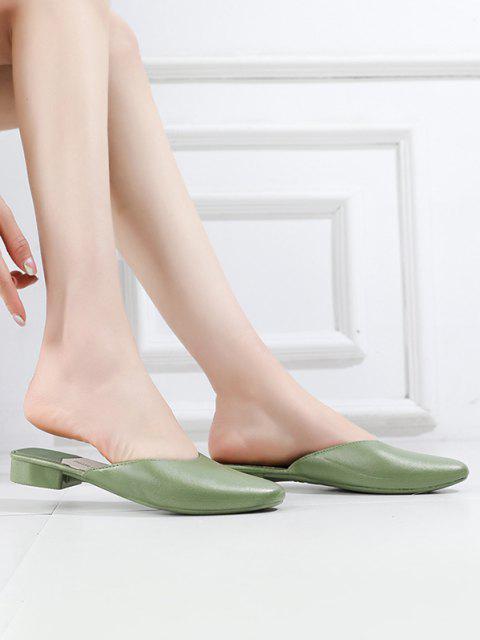 Sapatos Raso De Cabeça Quadrada Com Ataduras De Laço - Verde UE 40 Mobile