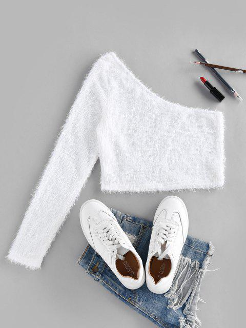 online ZAFUL Fuzzy One Shoulder Cropped Sweater - WHITE XL Mobile