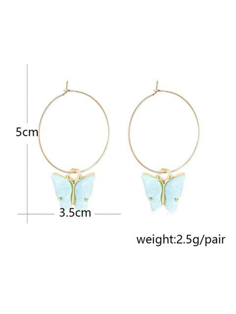 online Acrylic Butterfly Pendant Hoop Earrings - PINK 5*3.5CM Mobile