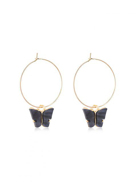 new Acrylic Butterfly Pendant Hoop Earrings - BLACK 5*3.5CM Mobile