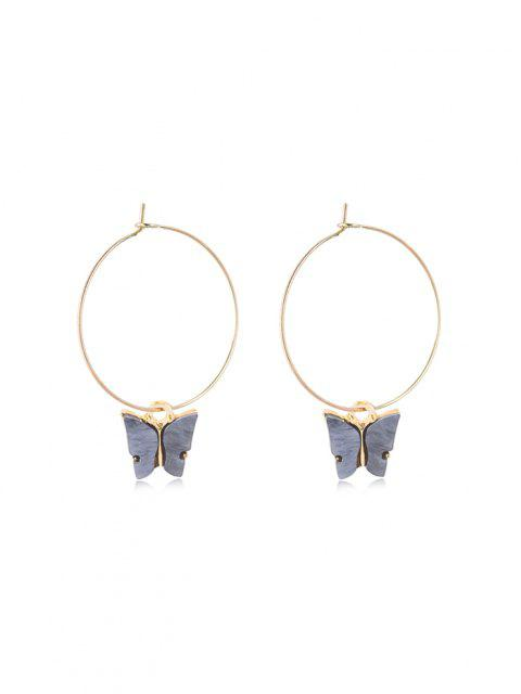 Acrylic Butterfly Pendant Hoop Earrings - الرمادي الداكن 5 * 3.5CM Mobile