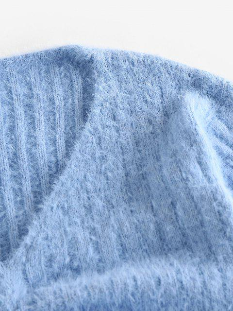 latest ZAFUL Cinched Plunging Furry Crop Sweater - LIGHT BLUE M Mobile
