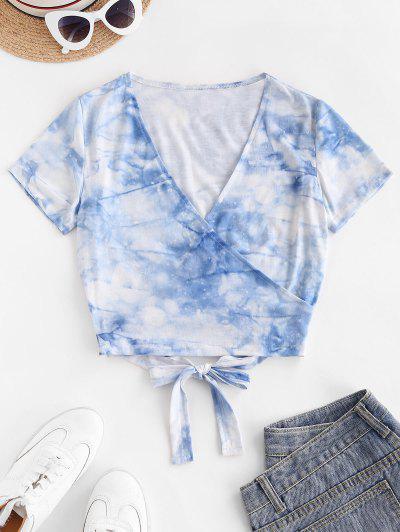 Tie Dye V Neck Crop Wrap Tee - Blue S