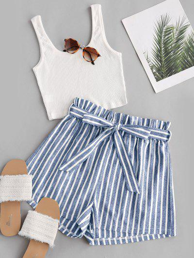 Ribbed Tank Top And Striped Print Paperbag Shorts Set - Light Blue S