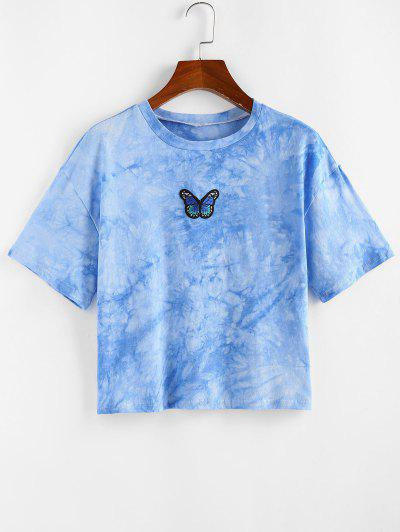 ZAFUL Tie Dye Butterfly Embroidered T Shirt - Ocean Blue S