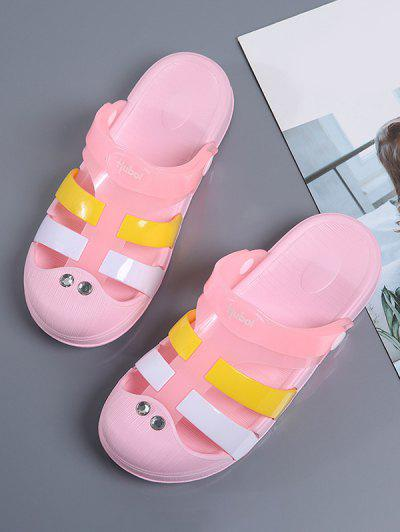 Colorblock Jelly Closed Toe Hole Slides - Pink Eu 38