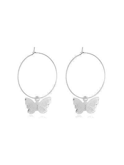 Butterfly Hoop Earrings - Silver 5*3.5cm