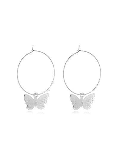 Butterfly Hoop Earrings - Silver 5*3.5cm