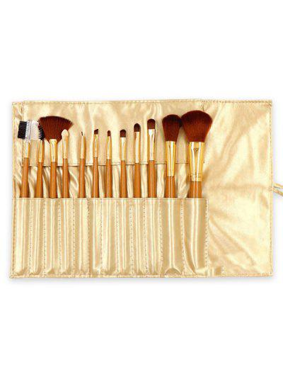 12Pcs Multi-function Cosmetic Brushes Set With Storage Bag - Champagne Gold