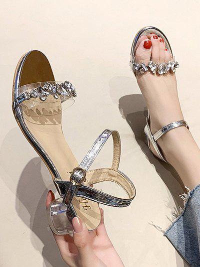 Sandalias De Tacón Grueso Con Adorno De Diamantes De Imitación - Plata Eu 38