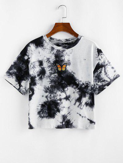 ZAFUL Tie Dye Butterfly Embroidered T Shirt - Black S