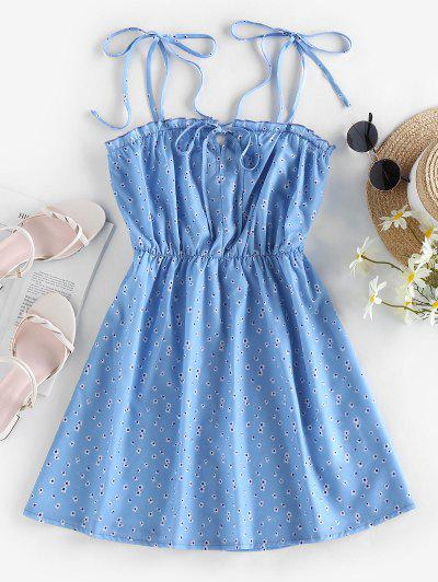 ZAFUL Tie Ditsy Print Sundress - Light Blue M