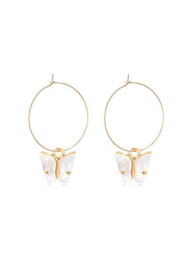 Acrylic Butterfly Pendant Hoop Earrings - White 5*3.5cm