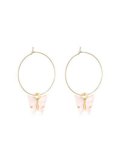 Acrylic Butterfly Pendant Hoop Earrings - Pig Pink 5*3.5cm