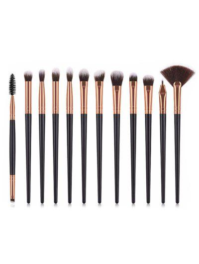 12Pcs Eye Cosmetic Brushes Set - Jet Black 12pcs