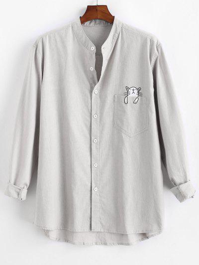 Cartoon Cat Print Button Up Pocket Shirt - Light Gray L