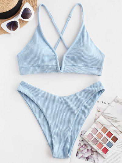 ZAFUL Ribbed V-wired High Cut Cross Bikini Swimwear - Light Blue S