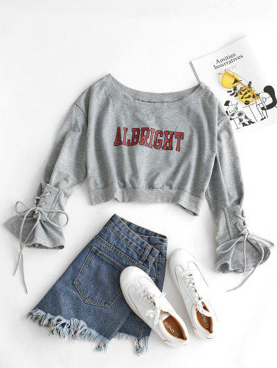 Letter Graphic Bell Sleeve Lace Up Crop Sweatshirt - Light Gray
