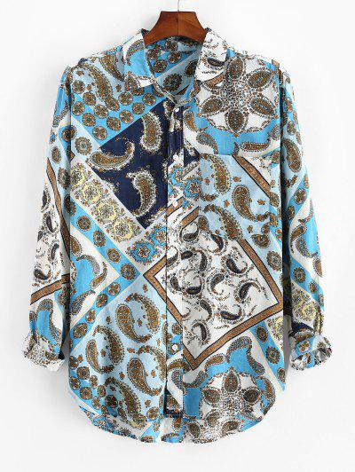 Paisley Scarf Print Button Up Pocket Shirt - Blue 3xl