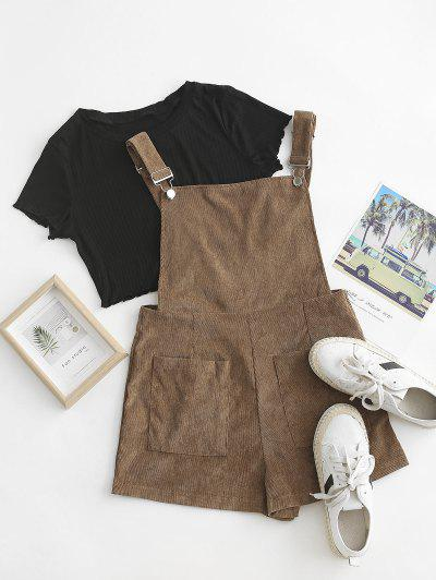 Pockets Corduroy Pinafore Romper With Top - Coffee S