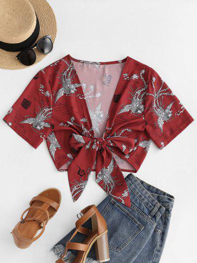 Tie Front Phoenix Print Oriental Crop Blouse - Red S