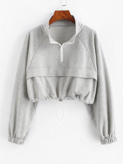Sweat-shirt Court Zippé à Manches Raglan Ourlet à Cordon - Gris S