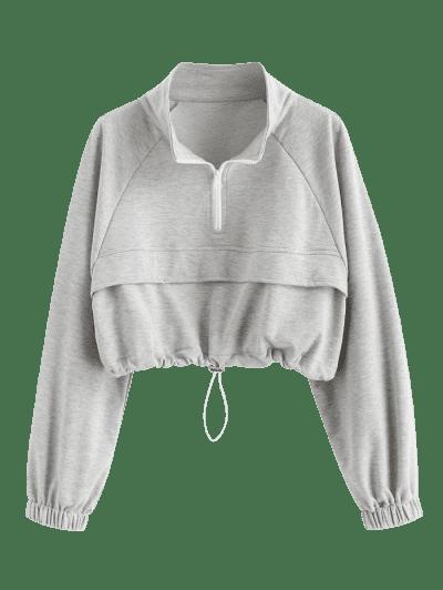 Zip Drawstring Hem Raglan Sleeve Cropped Sweatshirt