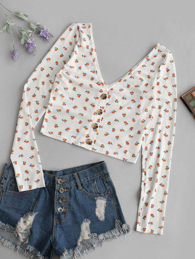 ZAFUL Ditsy Floral Plunge Backless Mock Button Tee - Light Orange M