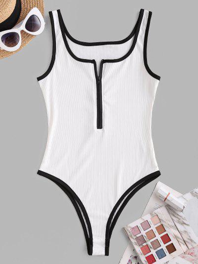 Ribbed Binding Zip Up Bodysuit - White M